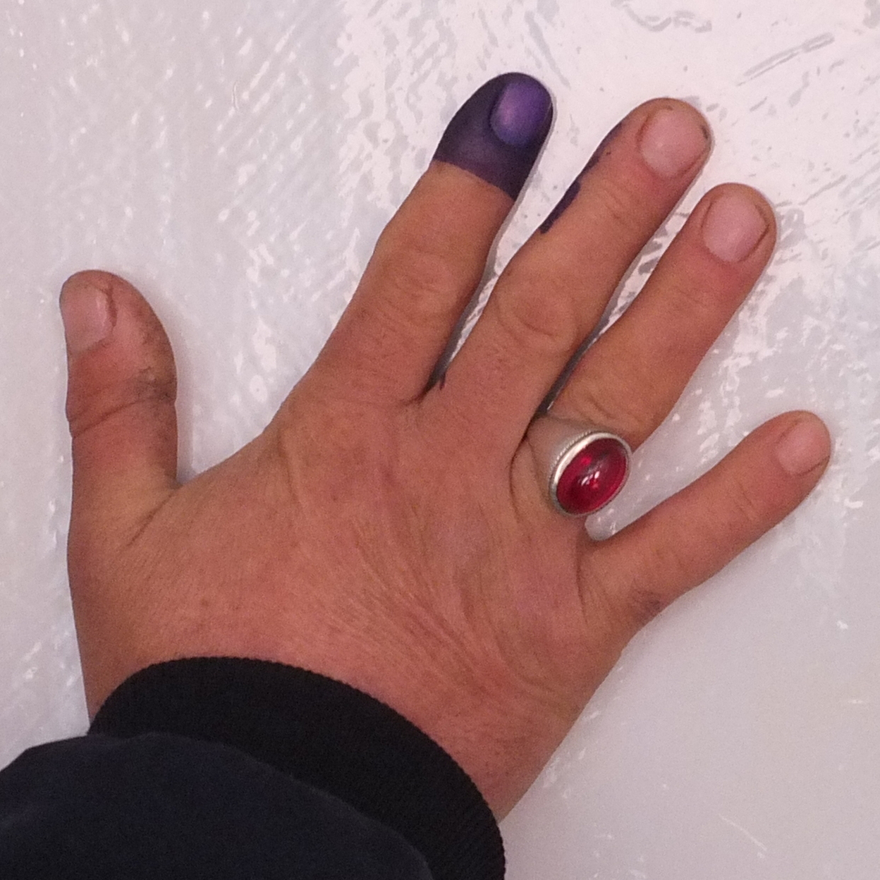 Purple stain proving that someone has voted