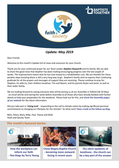 The Baptist Union of Great Britain : Faith and Society Update - May 2019
